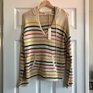 Sweaters - Striped knit hoodie